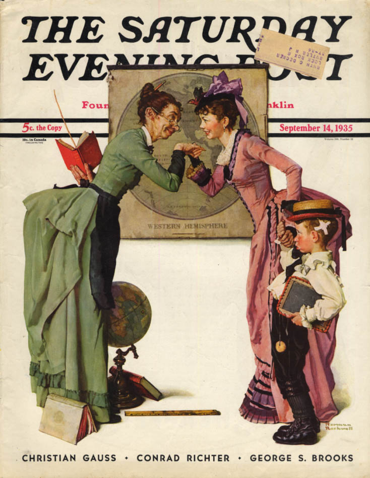 Image for SATURDAY EVENING POST COVER 1935 Mom meets the teacher by Norman Rockwell