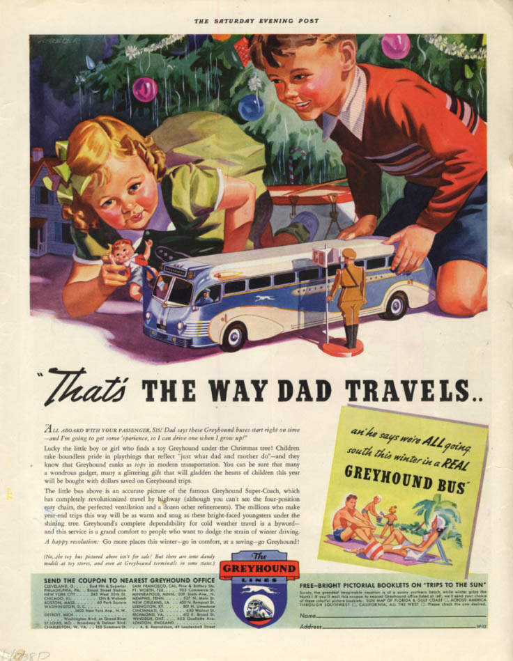 That's the way Dad travels - Greyhound Bus ad 1938 Sep