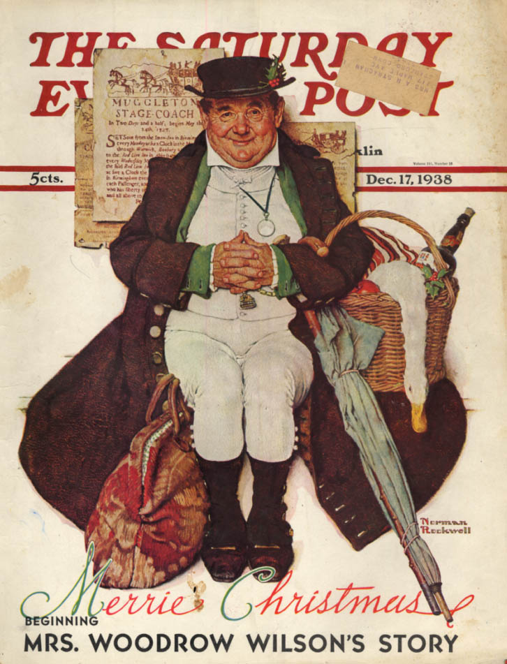 Image for SATURDAY EVENING POST COVER 1938 Fat man arrives for Christmas - Norman Rockwell