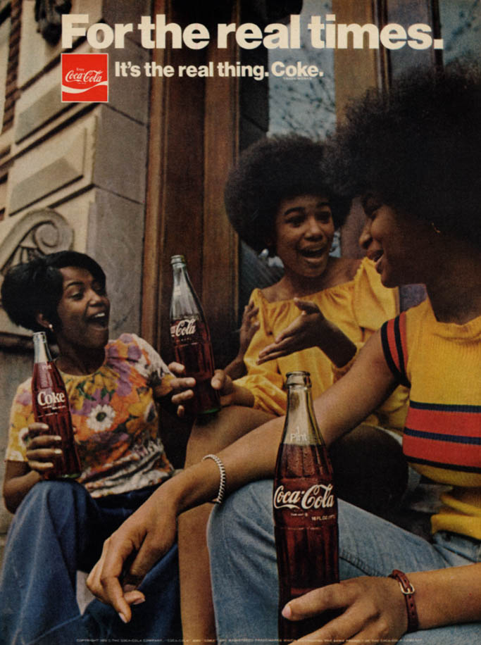For the real times Coca-Cola ad 1974 three black girls on the stoop EB