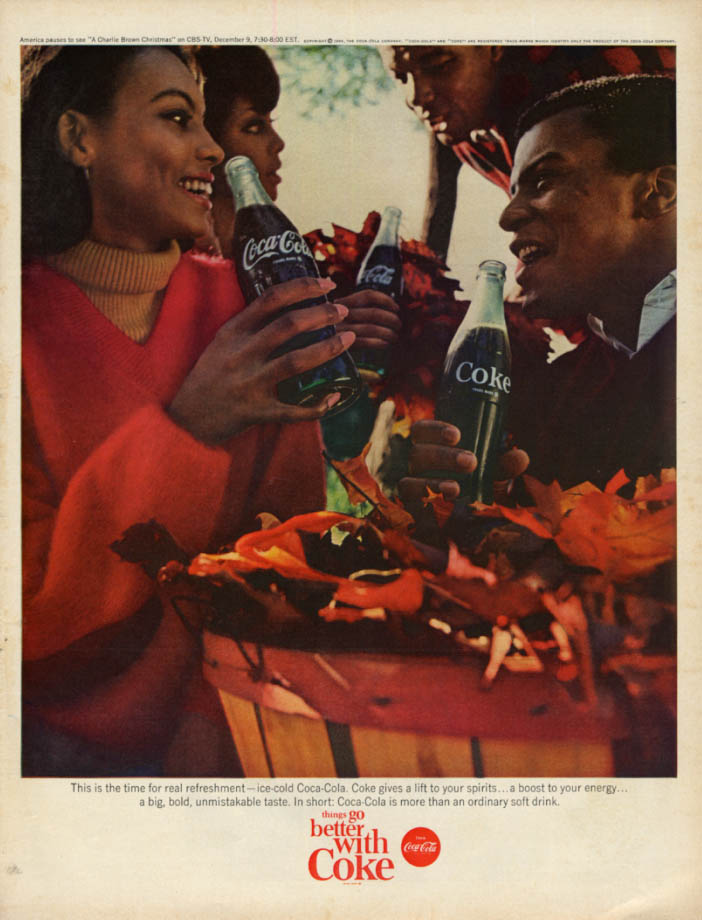 Image for For real refreshment Coca-Cola ad 1965 2 black couples gather fall leaves