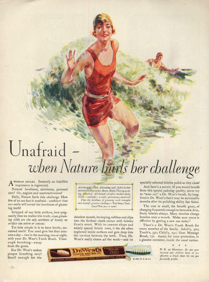 Image for Unafraid when nature challenges Dr West Tootbrush ad 1927 swimsuit by J Karl