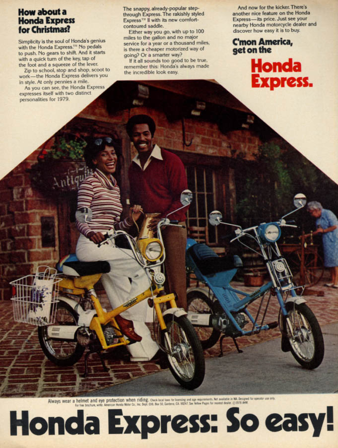 Image for How about Honda Express Motorscooter for Christmas? Ad 1978 black models EB