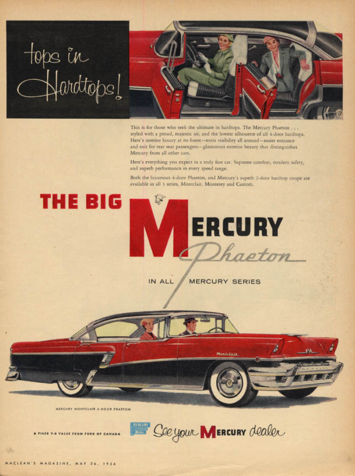 Image for Top in hardtops! Mercury Phaeton ad from Canada 1956