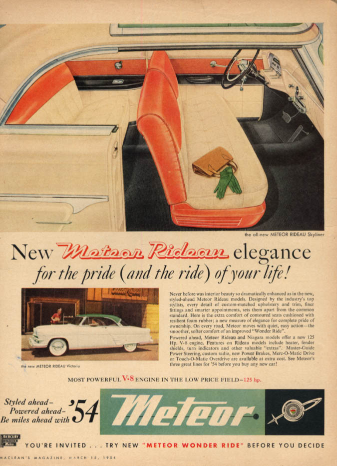 Image for New Meteor Rideau elegance for the pride of your life ad 1954 Canadian Ford