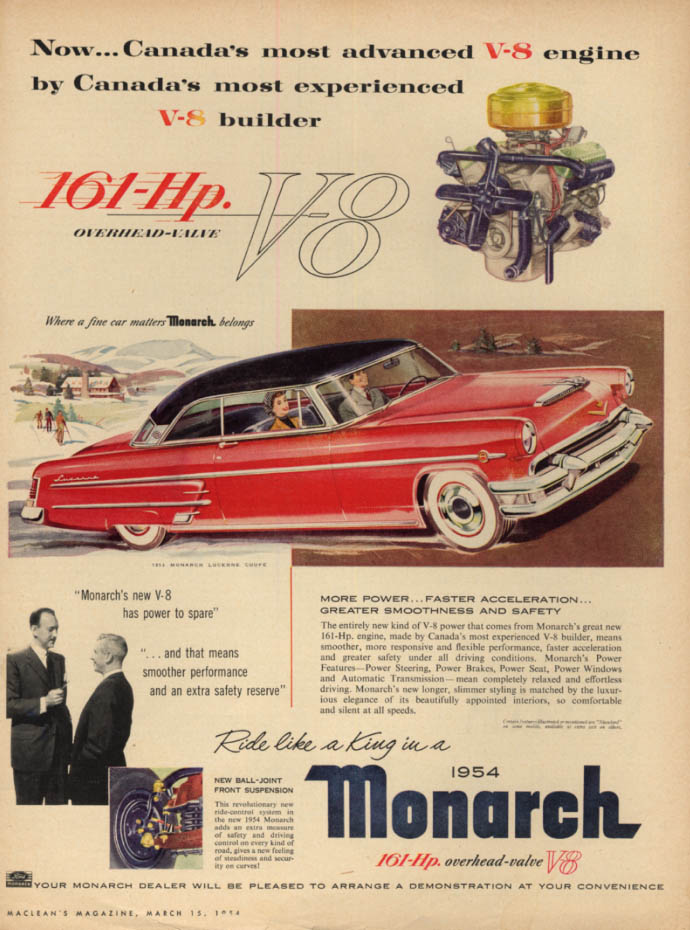 Image for Canada's most advanced V-8 - Mercury Monarch Lucerne Coupe ad 1954