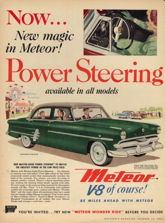 Image for Power Steering available in all models Canadian Ford Meteor ad 1953