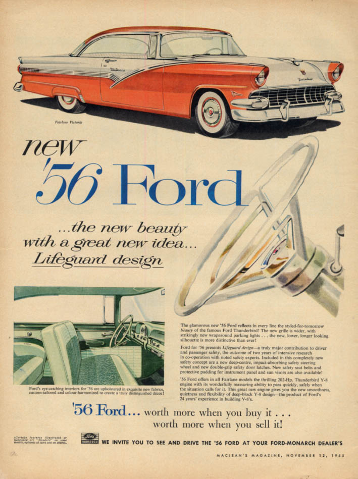 Image for New beauty with a great new idea Ford Fairlane Victoria ad 1956 Canada