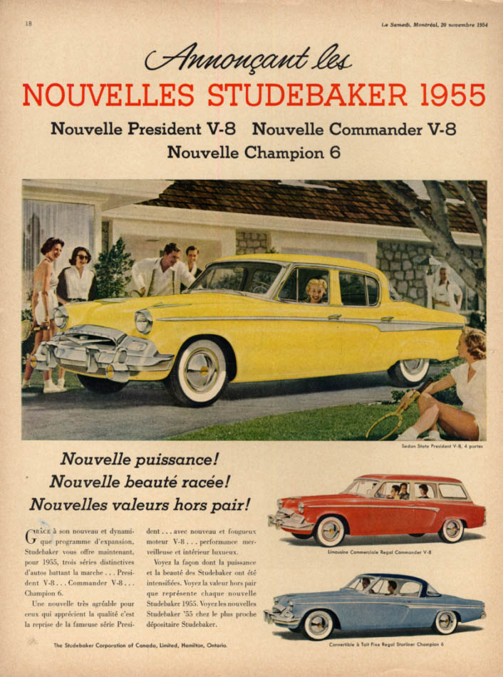 Image for Annoncant les Nouvelles Studebaker State President ad 1955 Canada