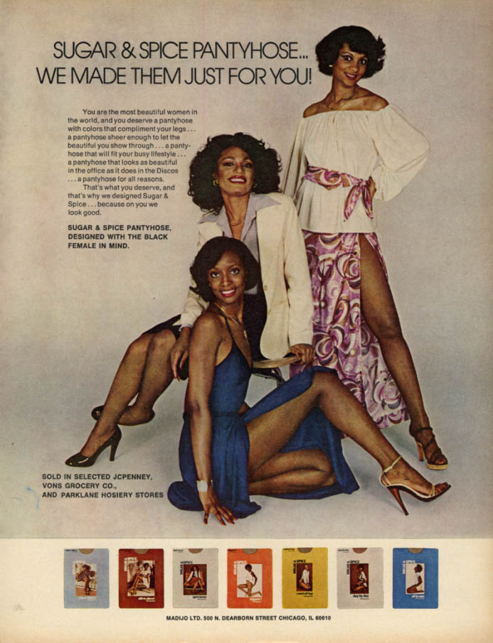 Image for We made them just for you! Sugar & Spice Pantyhose ad 1978 black models