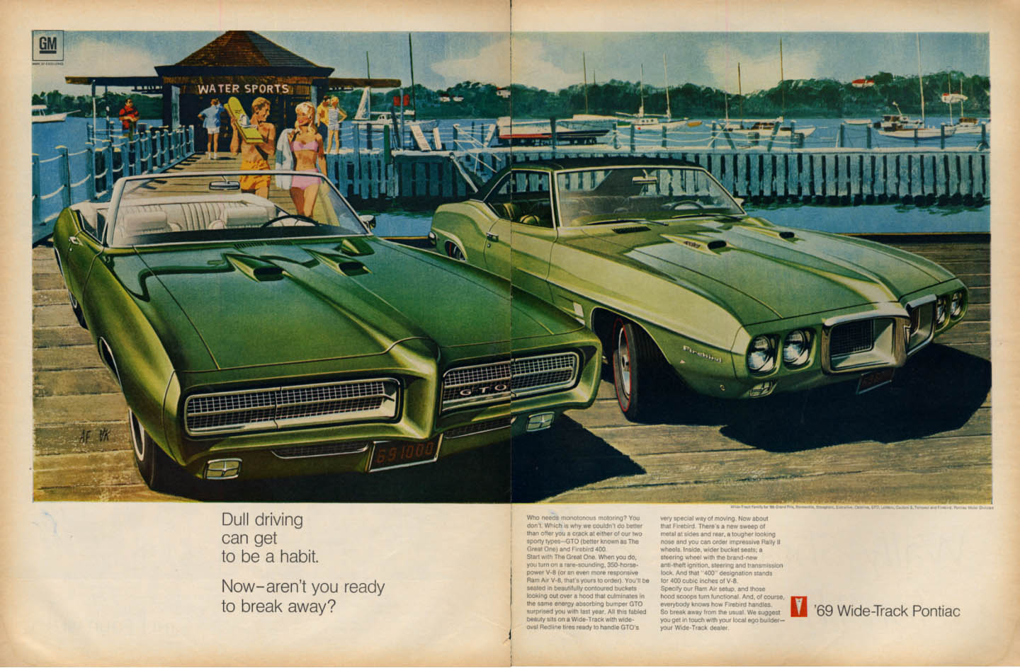 Image for Dull driving can be a habit - Break away Pontiac GTO & Firebird 400 ad 1969 L