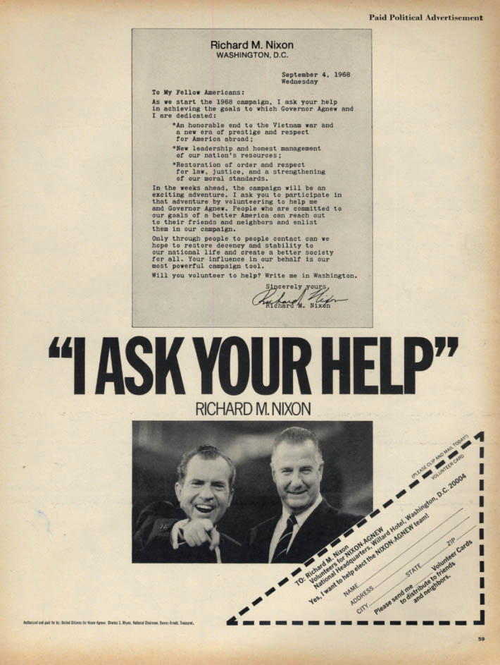 Image for I ask for your help - Richard Nixon for President campaign ad 1968 L