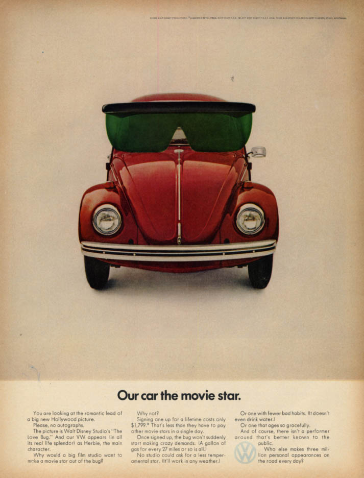 Image for Our car the movie star Volkswagen starring in The Love Bug ad 1969 L
