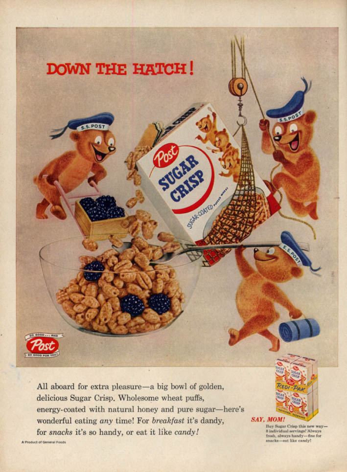 Image for Down the Hatch! Post Sugar Crisp Cereal ad 1956 L