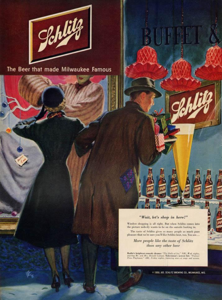 Image for Wait, let's shop in here! Schlitz Beer ad 1951 mink coat vs beer buffet L