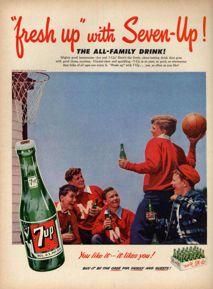 Image for Fresh up with Seven-Up ad 1952 boys playing basketball L