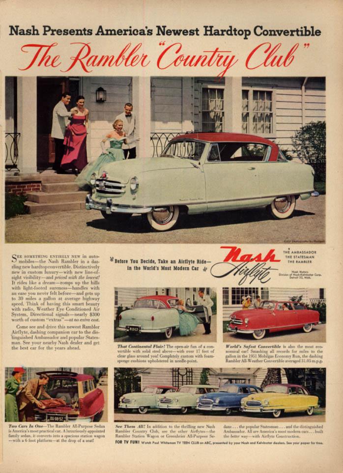 America's newest Hardtop Convertible - Nash Rambler Country Club ad 1951 L