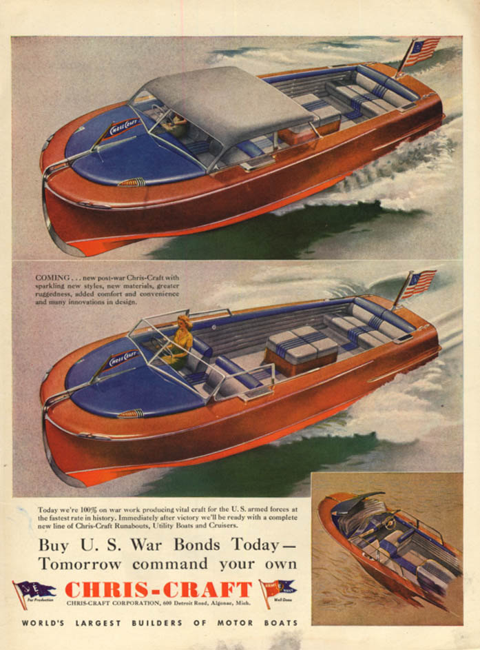 US War Bonds Today Chris-Craft Speedboats tomorrow ad 1943 L