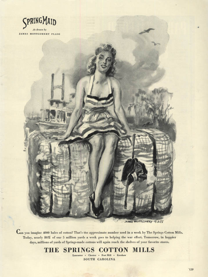 4000 Bales of Cotton Springs Cotton Mills ad 1943 James Montgomery Flagg GGA