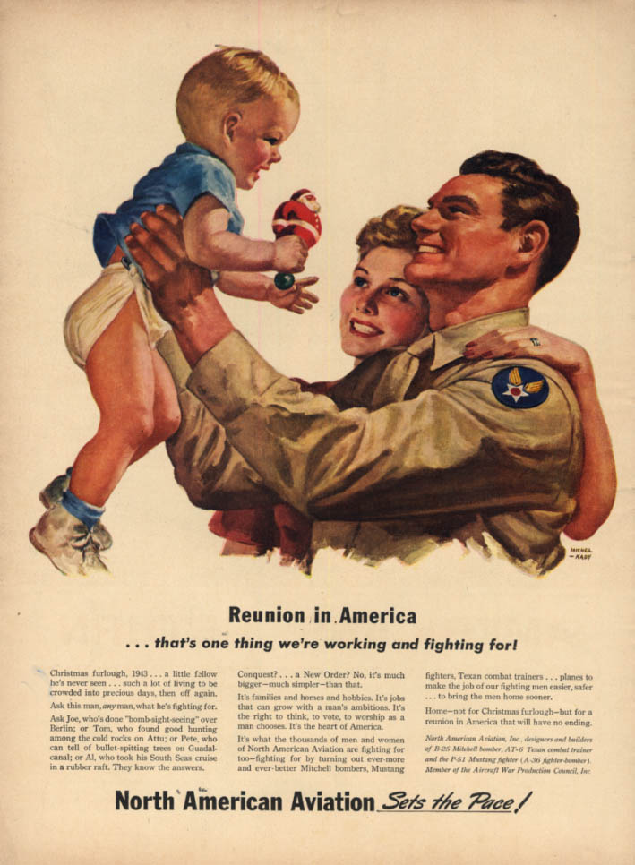 Image for Reunion in America- what we're figting for North American Aviation ad1943 L