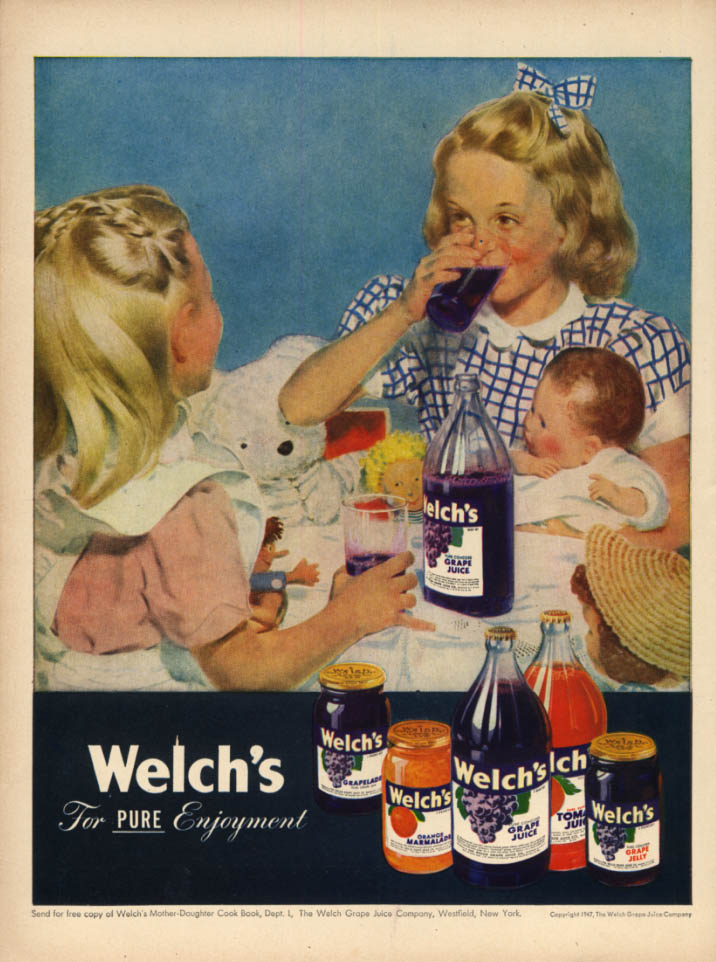 Image for Welch's Grape Juice ad 1947 little blonde girls & their dolls L