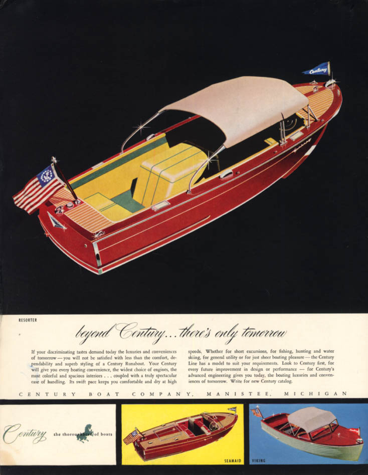 Beyond there's only tomorrow Century Resorter Speedboat ad 1954 H