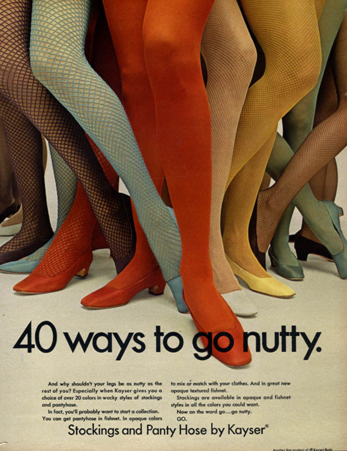 40 ways to go nutty Kayser Stocking & Pantyhose ad 1967