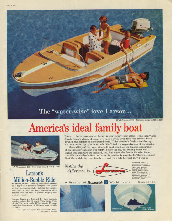 America's ideal family boat - Larson All-American ad 1961 SEP
