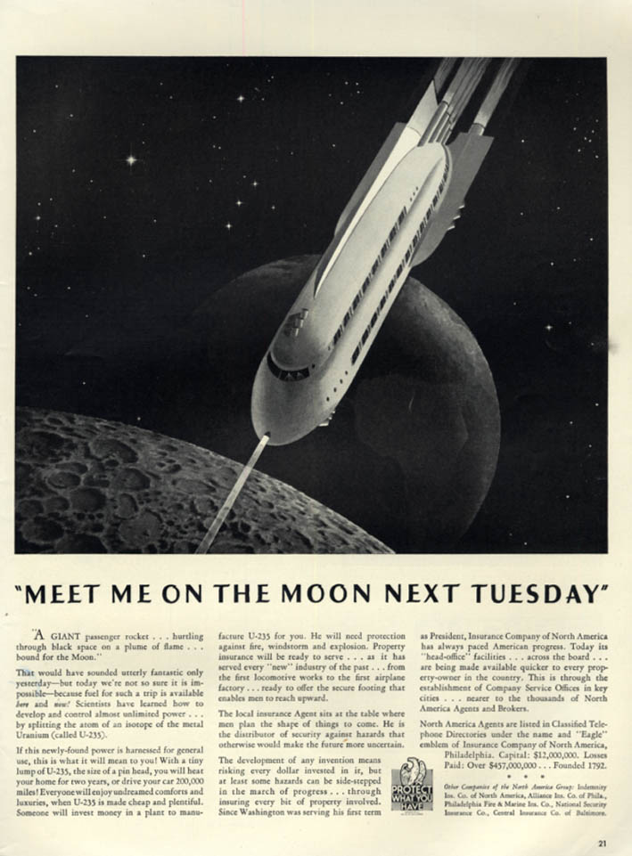 Image for Meet Me on the Moon Next Tuesday  North American Insurance ad 1941 rocket