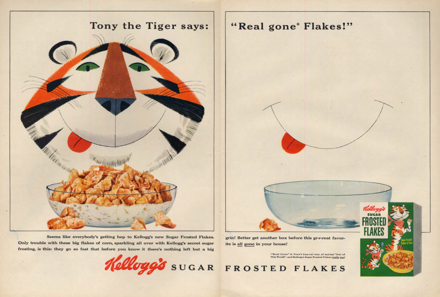 Image for Tony the Tiger says Real gone Flakes! Kellogg's Sugar Frosted Flakes ad 1954 L