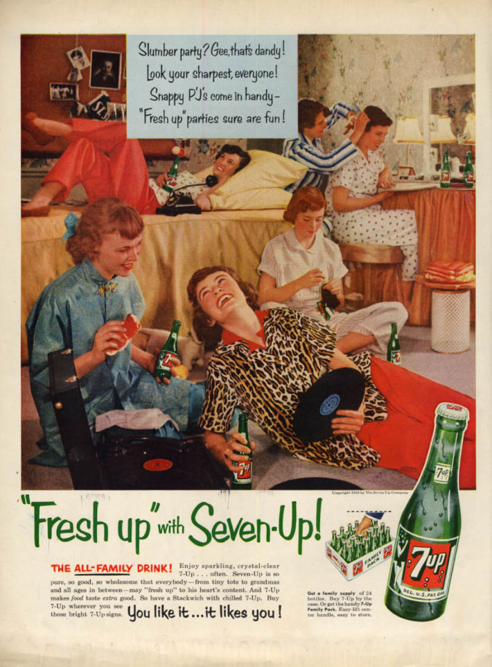 Image for Teen Girls Slumber party? Gee, that's dandy! Fresh up with Seven-Up ad 1954 L