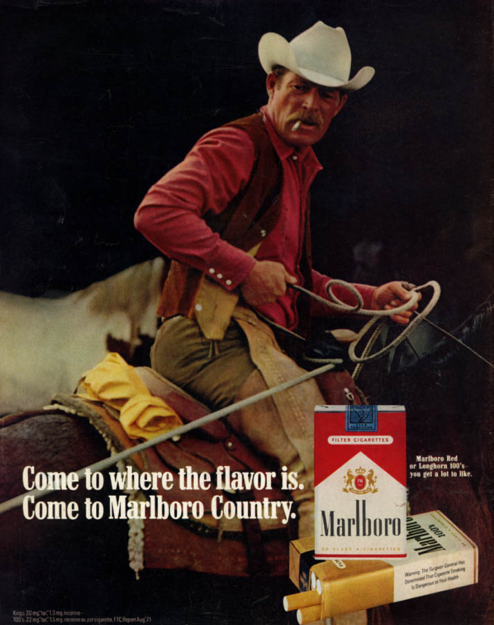 Come to where the flavor is Come to Marlboro Country ad 1972 roping a calf L