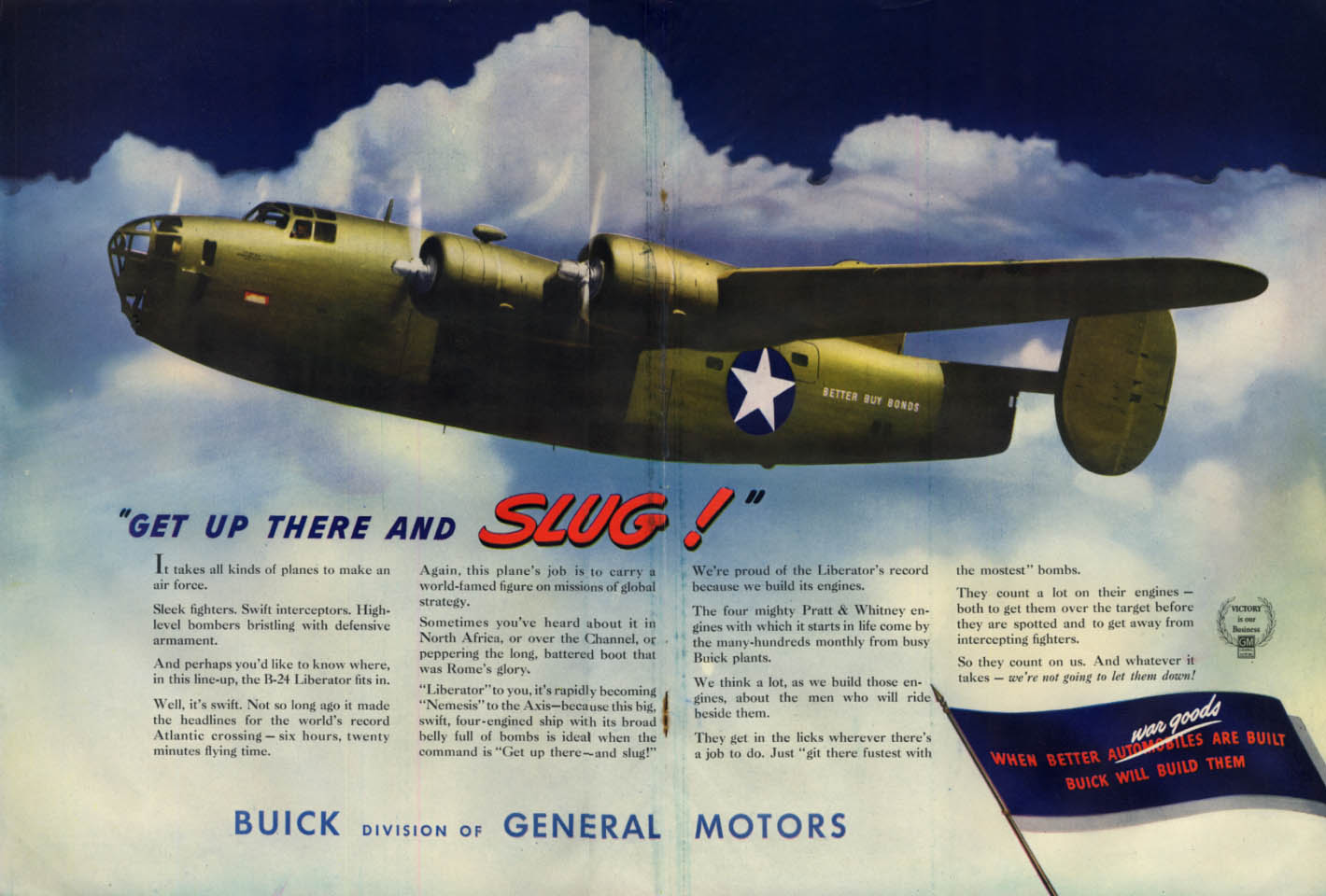 Get Up There and SLUG! Consolidated B-24 Liberator - Buick ad 1943 L