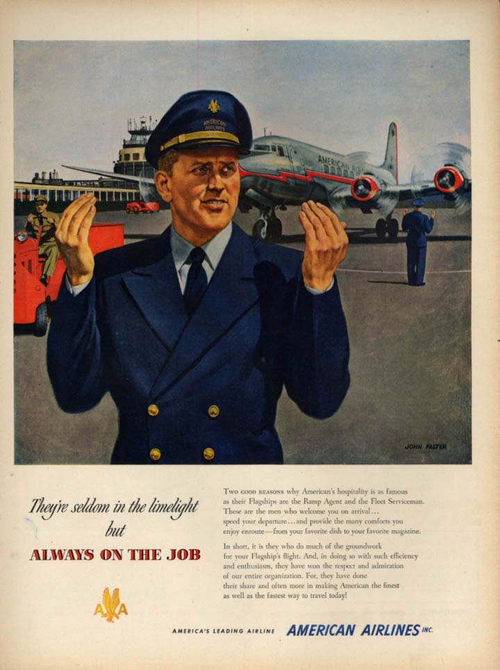 Image for Seldom in the limelight Always on the job American Airlines ground crew ad 1951