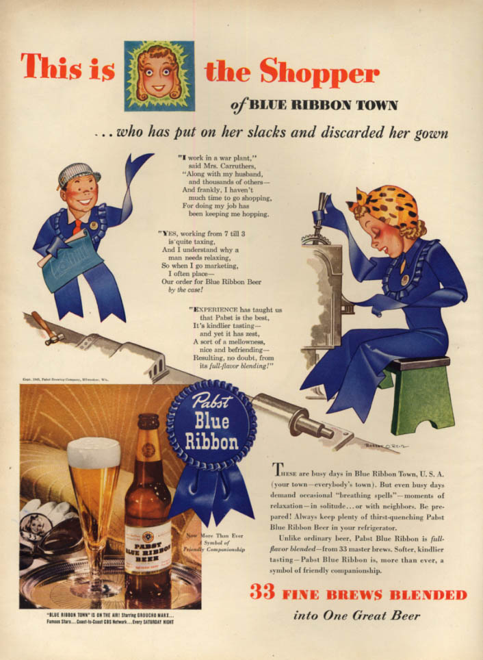 Woman war worker of Pabst Blue Ribbon Beer Town ad 1943 L