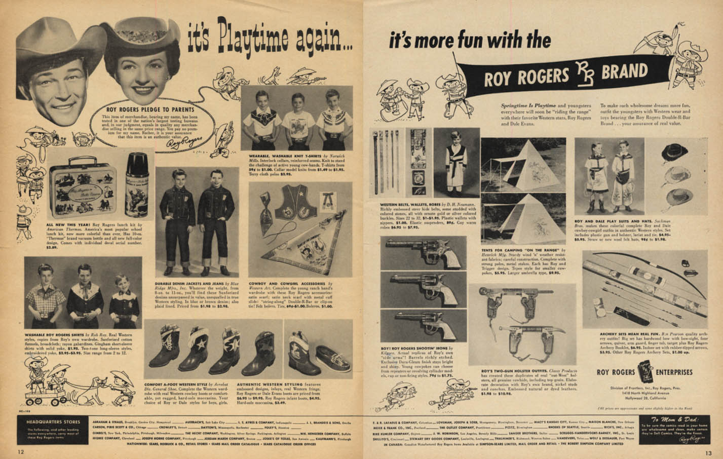 Playtime is more fun again with Roy Rogers Brand toys ad 1955 L