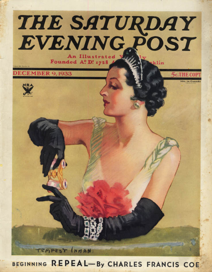 Image for SATURDAY EVENING POST COVER 1933 opera-going lady by Tempest Inman