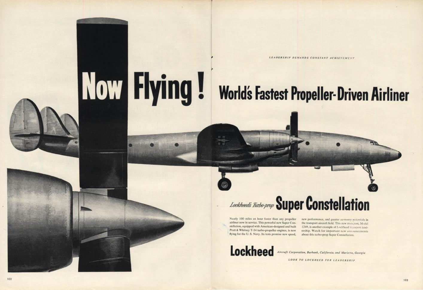 World's fastest propeller-driven airliner Lockheed Super Constellation ad 1954 L