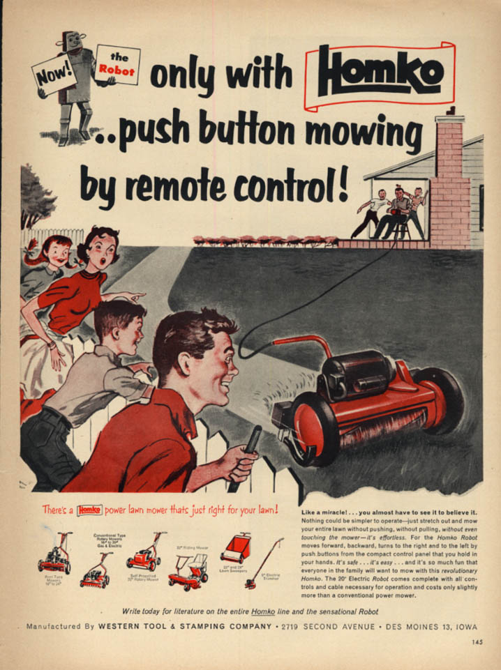 The Homko Robot Electic Lawn Mower by remote control! Ad 1954 L