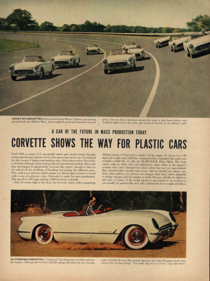 Corvette Shows the Way for Plastic Cars LIFE Magazine page 1954
