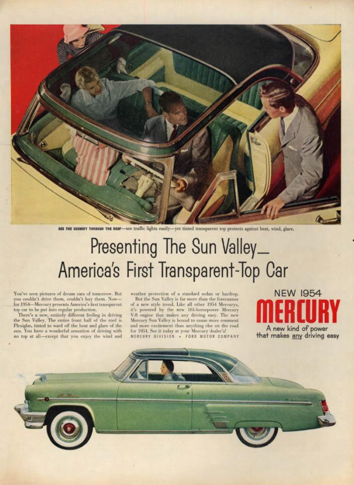 Presenting the Mercury Sun Valley - America's 1st Transparent Car Top ad 1954 L