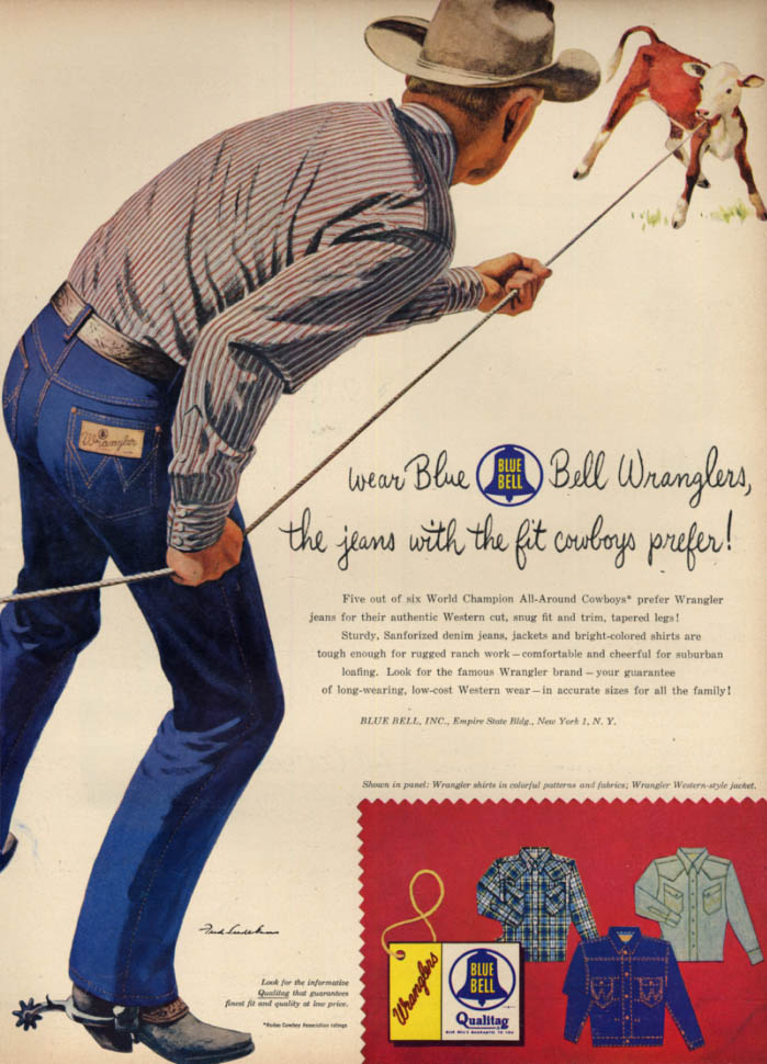 Image for Jeans with fit that cowboys prefet Blue Bell Wrangler Jeans ad 1954 L