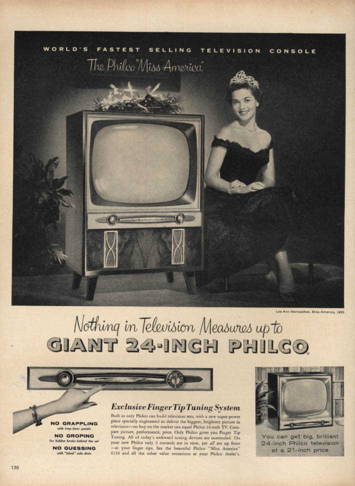 Image for Miss America Lee Meriwether for Philco 24-Ince Television ad 1954 L