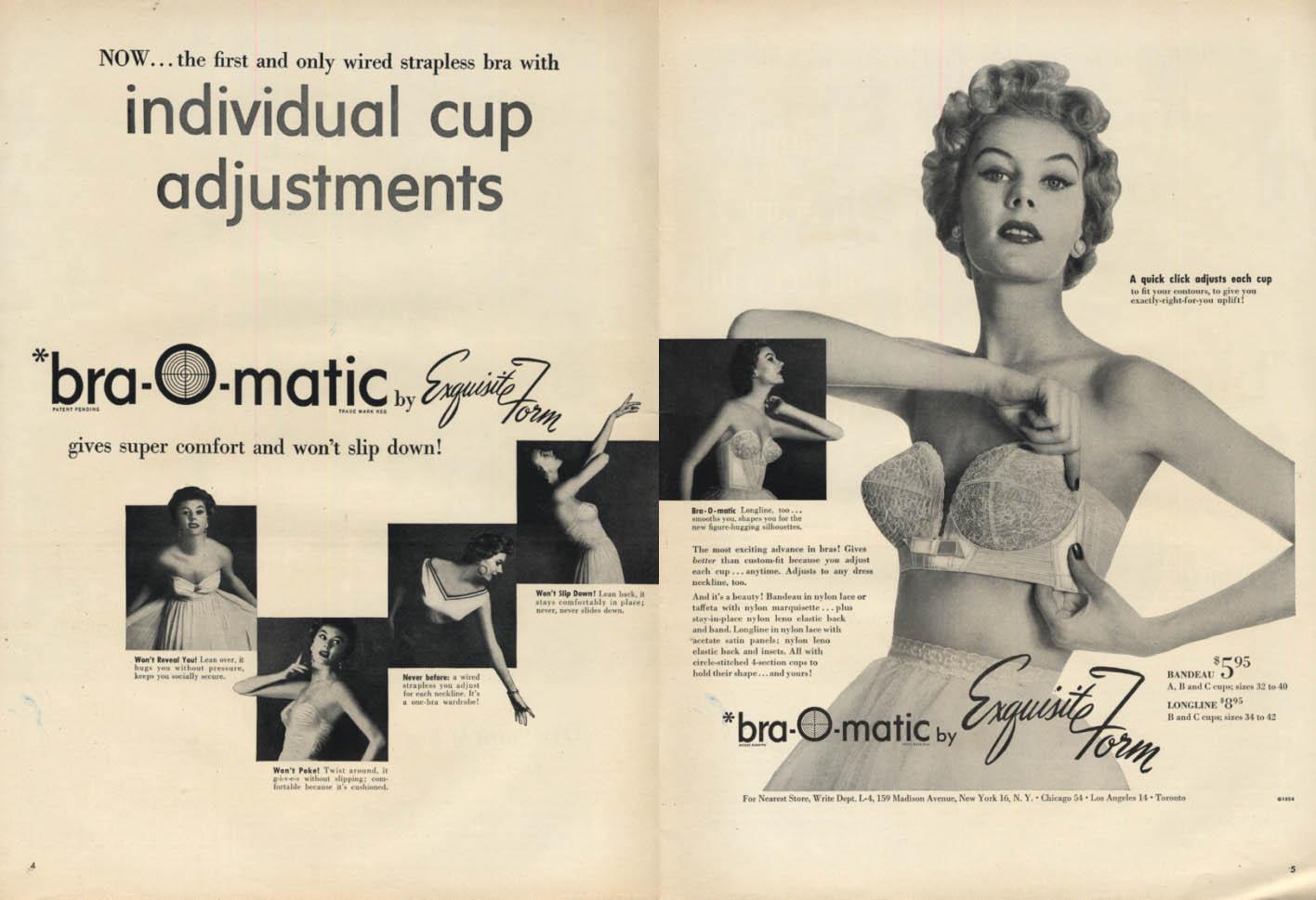 Bra-O-Matic Individual Cup Adjustments - Exquisite Form Bra ad 1954 L