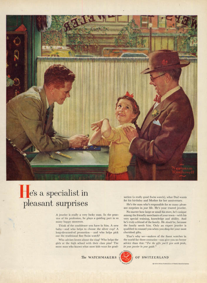 A Specialist in surprises Watchmakers of Switzerland ad 1954 Norman Rockwell L