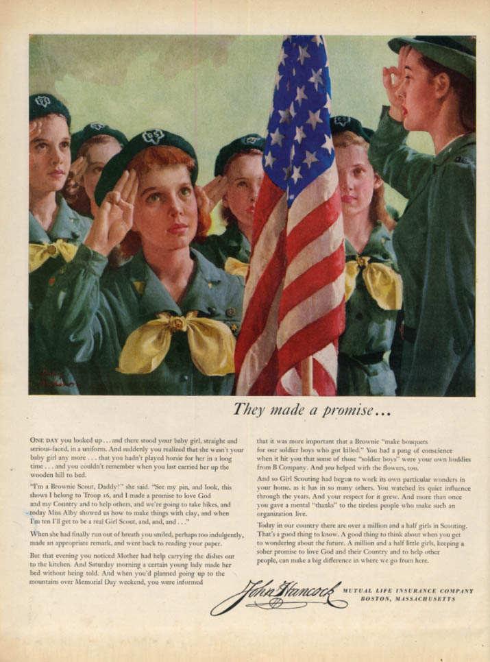They made a promise Girl Scouts for John Hancock Life Insurance ad 1954 L