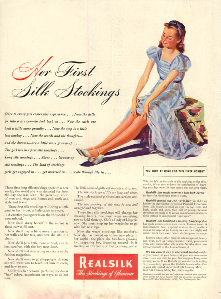 Image for Her First Silk Stockings - Real Silk Stockings ad 1941 Coby Whitmore art L