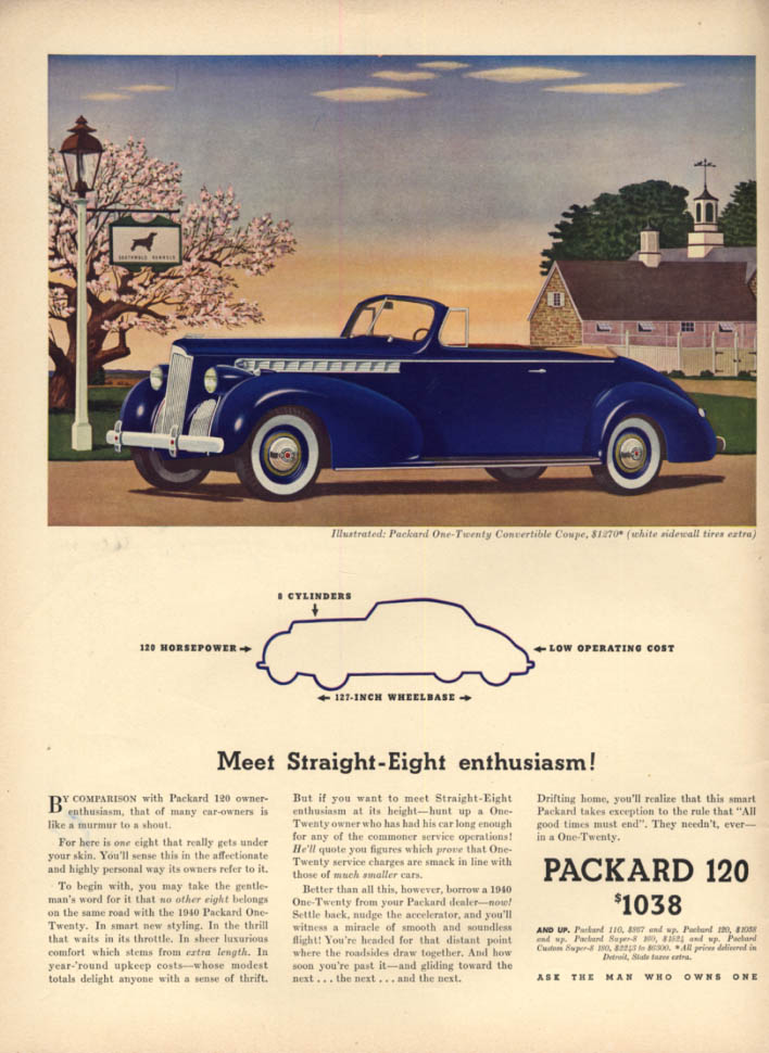 Meet Straight-Eight enthusiasm! Packard One-Twenty Convertible Coupe ad 1940 L