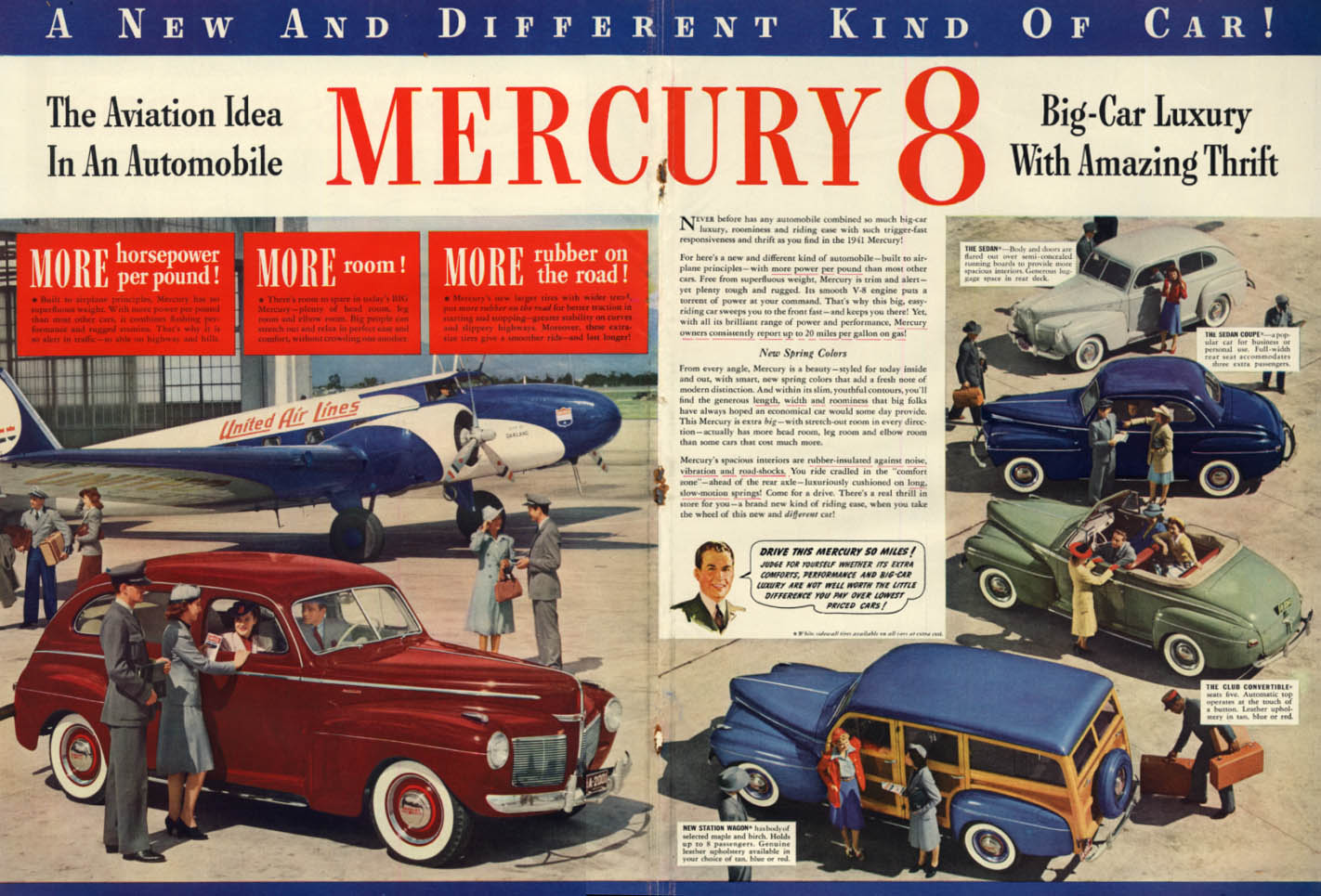 The Aviation Idea in the Mercury ad 1941 United Air Lines Boeing 247 L