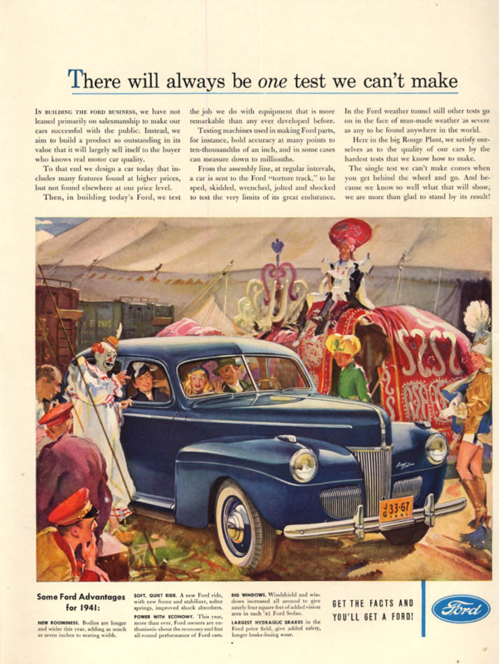 Image for There will always be one test we can't make - Ford at the Circus ad 1941 L